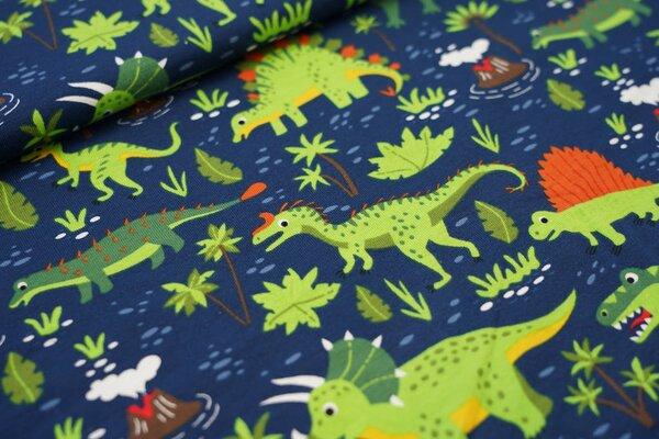 Baumwoll-Jersey Dinosaurier Palmen Blätter Vulkane auf dunkelblau