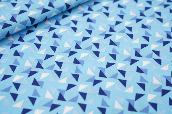 Baumwollstoff Dreiecke auf hellblau