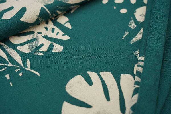 Baumwoll-Sweat Digitaldruck Farne Blätter Punkte smaragdgrün / creme