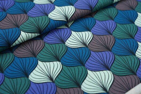 Baumwoll-Jersey Blumen Muster Zwiebeln blau / petrol / grau / hellblau