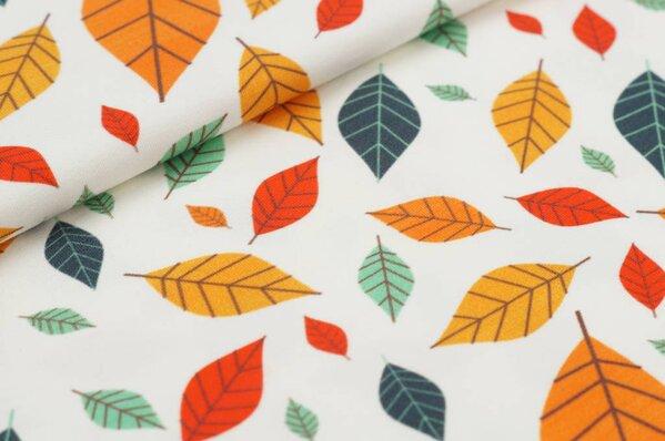 Baumwoll-Jersey Digitaldruck Herbst farbige Blätter auf off white