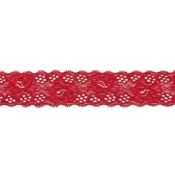 Spitzenborte Zierband elastische Spitze mit Rüschen Blumen uni bordeauxrot 35 mm