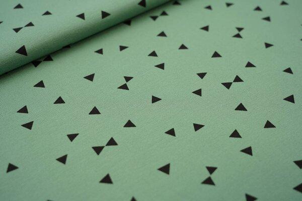 Baumwoll-Jersey schwarze Dreiecke auf altgrün
