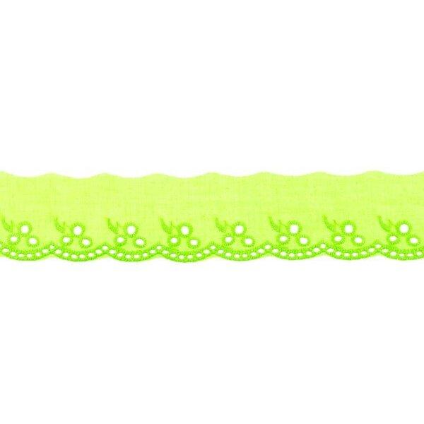 Baumwoll Spitze mit Blumen-Muster limettengrün Spitzenbordüre Borte