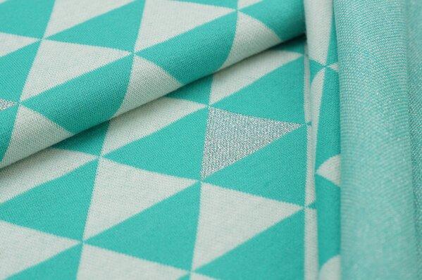 Jacquard-Sweat Ben off white silber Lurex Glitzer Dreiecke auf mint seegrün