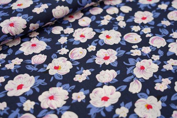 Baumwollstoff mit Blumen dunkelblau / taupe blau / weiß / rosa / rot