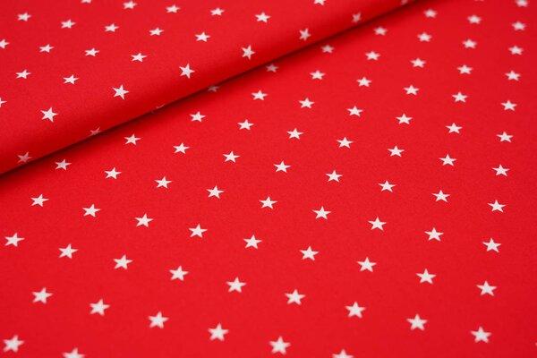 Baumwolle weiße Sterne auf rot maritim
