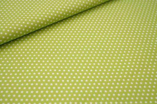 Baumwollstoff Baumwolle hellgrün mit kleinen weißen Sternen