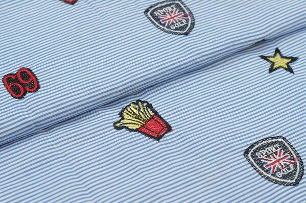 Baumwolle Streifen mit Stickerei Applikationen Sterne Sport 69 hellblau / weiß