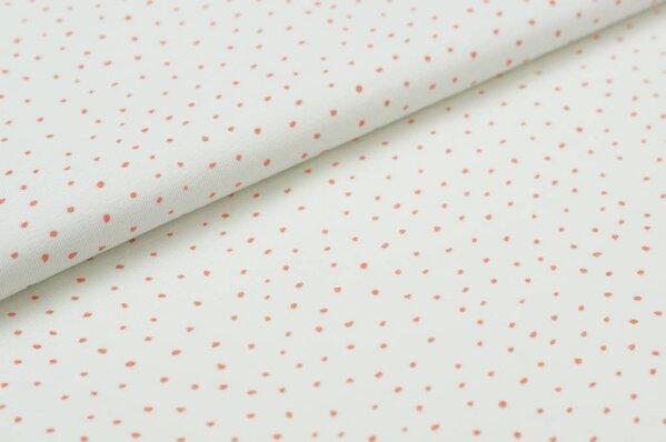 Baumwoll-Jersey Punkte Digitaldruck kleine Pünktchen off white / lachsrot