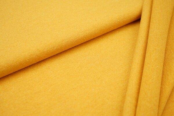 Baumwoll-Sweat Recycelt einfarbig uni senfgelb ocker meliert