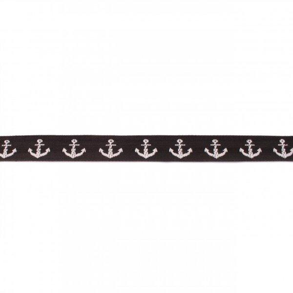Webband Zierband maritim mit Ankern schwarz / weiß 17 mm