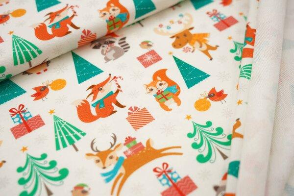 Baumwoll-Sweat Digitaldruck Tiere Weihnachtsgeschenke Tannenbaum off white