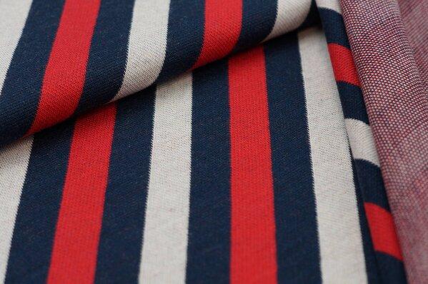 Jacquard-Sweat Ben diagonale Streifen rot / navy blau / off white