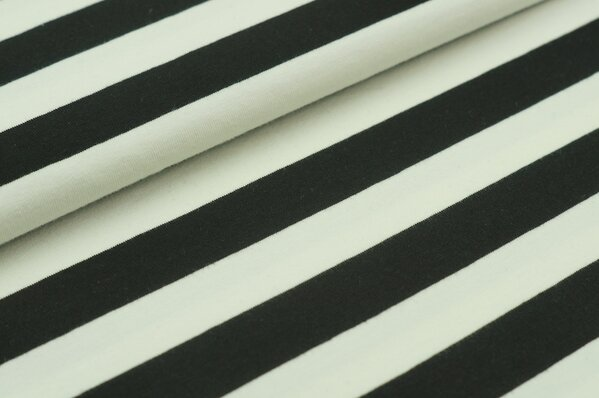 XXL Baumwolljersey Marie Streifen Ringel breit schwarz und off white