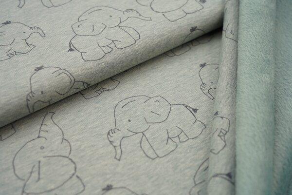 Kuscheliger Happy Fleece Alpenfleece Elefanten auf hell altmint meliert melange Kuschelsweat
