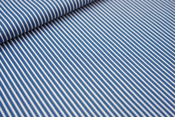 Baumwollstoff schmale Streifen jeansblau taupeblau / weiß Baumwolle