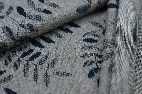 Jacquard-Sweat Mia navy blau Blätter auf mittelgrau Melange
