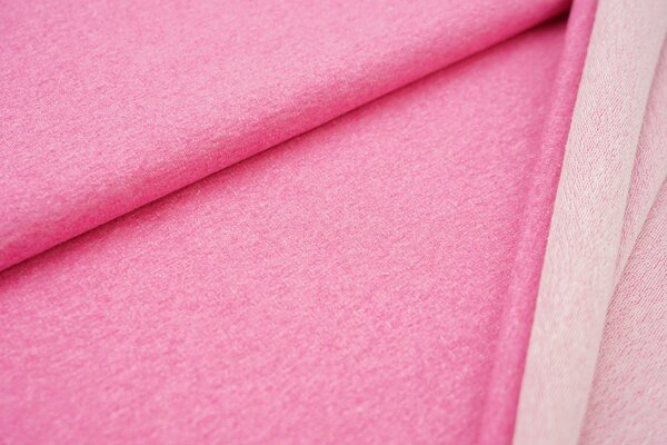 Baumwoll-Sweat uni pink meliert