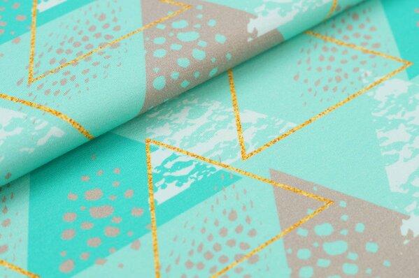 Baumwoll-Jersey Digitaldruck große Dreiecke mit Mustern mint / seegrün / schlamm