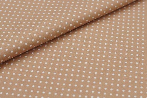 Baumwollstoff Baumwolle kleine Punkte hellbraun / weiß