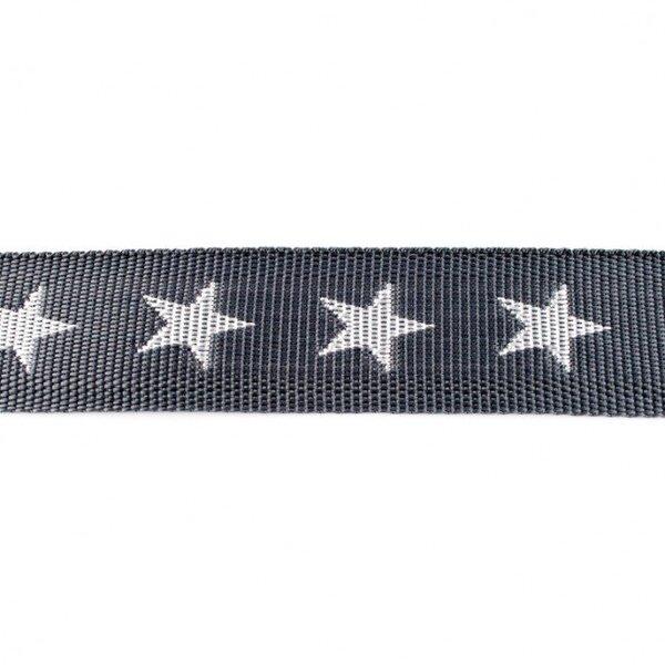 Breites Gurtband mit Sternen dunkelgrau / weiß 40 mm