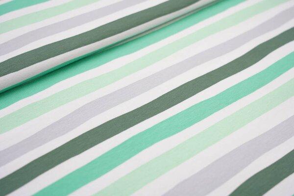 Baumwoll-Jerseystoff wellige Streifen grün / grau / weiß