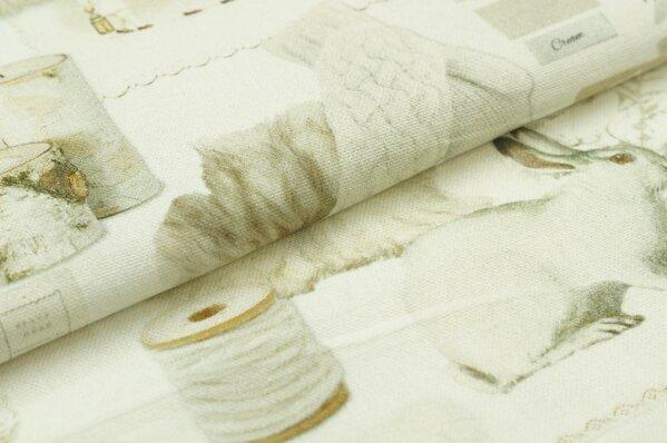 Dekostoff Canvas Winter weiße Eule Schneeeule Hasen Kerzen Digitaldruck