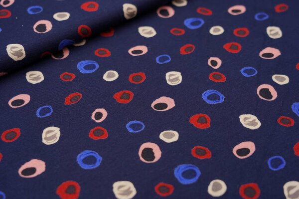 Viskose-Jersey abstrakte bunte Punkte auf dunkelblau