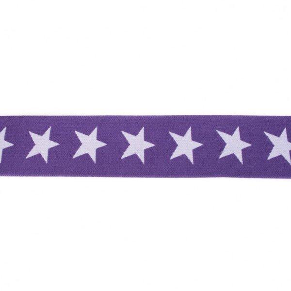 Breites Gummiband 40 mm Sterne dunkel lila / flieder lila