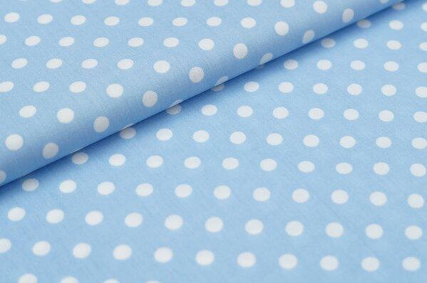 Baumwollstoff Baumwolle große Punkte hellblau / weiß