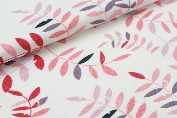 Baumwoll-Jersey Digitaldruck Blätter in koralle / lila / altrosa auf off white