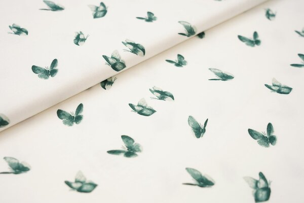 Baumwoll-Jersey grüne Schmetterlinge auf creme weiß
