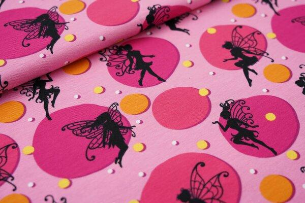 Baumwoll-Jersey Feen Elfen Kreise Punkte rosa / pink / senfgelb / beere