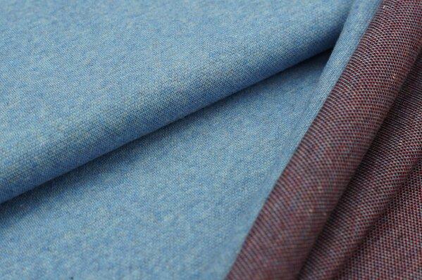 Jacquard-Sweat Mia jeansblau Melange Uni mit rot / schwarzer Rückseite