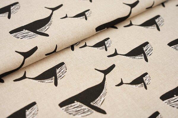 Canvas-Stoff Dekostoff in Leinenoptik schwarze Wale auf natur