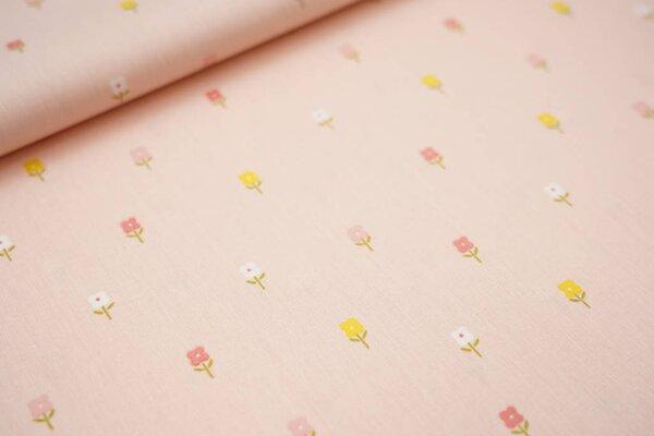 Baumwolle kleine Blumen auf lachs