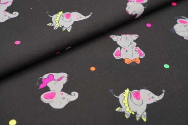 Baumwoll-Jersey Elefanten und Punkte schwarz / grau / neon gelb / orange / rosa