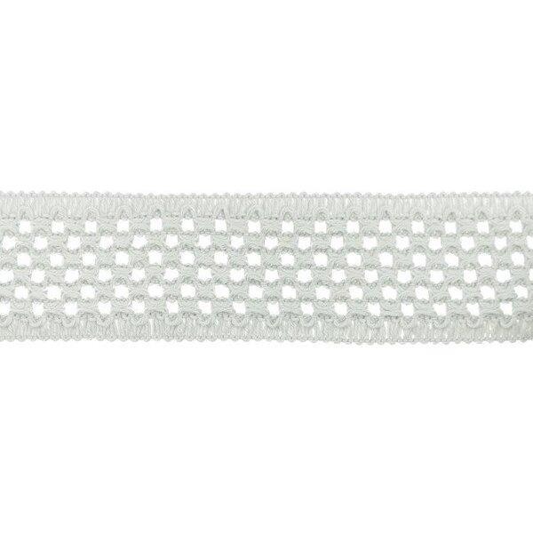 Elastisches Baumwollband in Häkeloptik uni hellgrau 50 mm