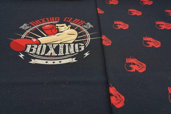 XL Panel Baumwoll-Jersey Boxing Club Boxer auf schwarz Digitaldruck