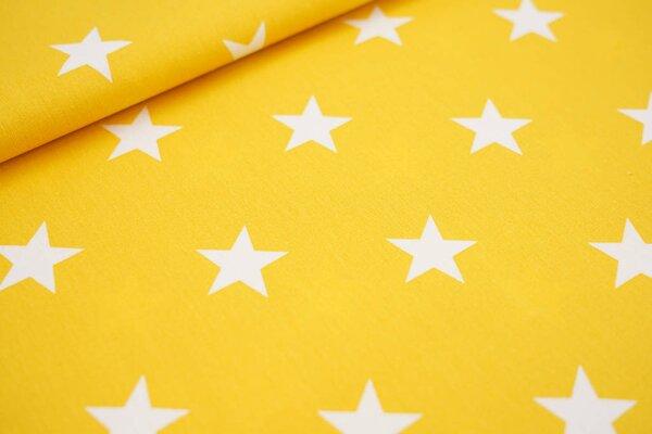 Baumwollstoff Baumwolle senf gelb mit sehr großen weißen Sternen