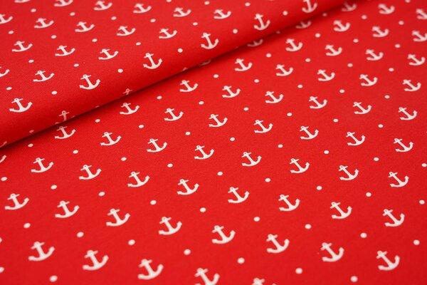 Baumwoll-Jersey maritime weiße Anker und Punkte auf rot