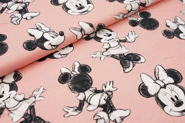 Digitaldruck Baumwoll-Jersey Minnie Mouse auf lachs Maus Mäuse