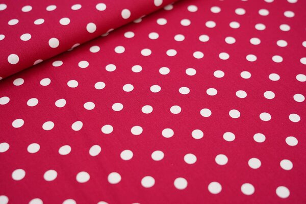Baumwollstoff Baumwolle amarant pink mit großen weißen Punkten