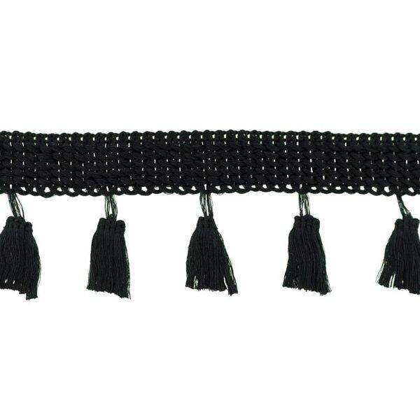 Quastenborte Uni schwarz 25 mm breit