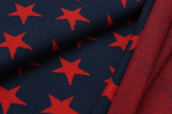 Jacquard-Sweat Ben rote Sterne auf navy blau