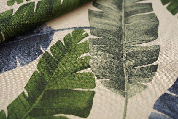 Canvas-Stoff Dekostoff in Leinenoptik große Palmenblätter natur / grün / blau