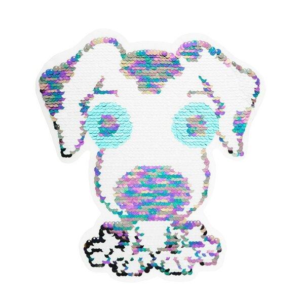 Applikation großer Hund irisierend Aufnäher mit Wendepailletten