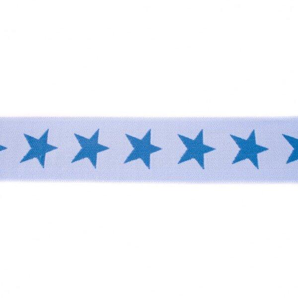 Breites Gummiband 40 mm Sterne hellblau / taupe blau