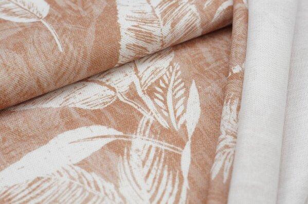 Dekostoff Canvas Digitaldruck weiße Palmen Blätter auf hellbraun